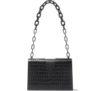 V Cutout Croc-effect Leather Shoulder Bag