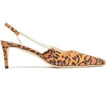 Gabriella Slingback-pumps aus Veloursleder mit Leopardenprint und Kettendetail