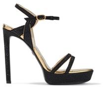 Crystal-embellished Suede Platform Sandals