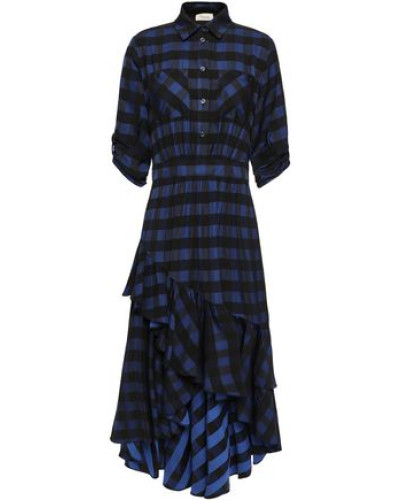 Stirling Asymmetric Checked Jacquard Dress Navy
