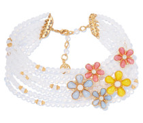 Gold-tone Crystal And Bead Necklace Weiß