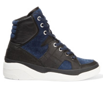 Chrystie Suede And Leather High-top Wedge Sneakers Navy