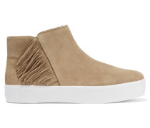 Stella Fringed Suede Sneakers Champignon