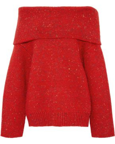 Oversized Off-the-shoulder Donegal Wool-blend Sweater Red