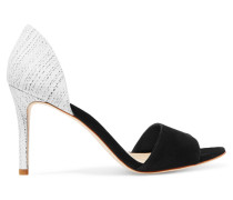 Char Suede And Snake-effect Leather Pumps Schwarz