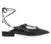 Lace-up Leather Slippers Schwarz