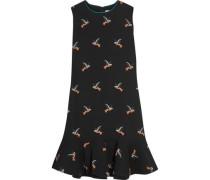 Ruffled printed crepe dress