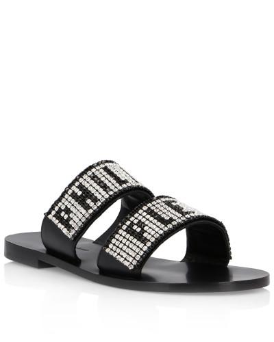 Sandals Flat Crystal Plein
