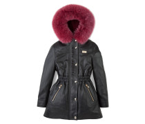 """leather parka fur lining """"look at me"""""""