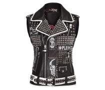"leather vest ""the plein"""