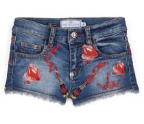 "Denim shorts ""Kiss roses"""