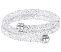 Crystaldust Armreif Double, White Weiss Edelstahl