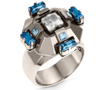 Cristaux Deco Ring, rutheniert Weiss Rhodiniert