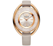 Crystalline Oval Uhr, Lederarmband, grau, roséfarben Weiss Rosé vergoldet