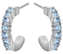 Mini Hoop Ohrringe Blau Rhodiniert