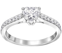 Attract Heart Ring Weiss Rhodiniert
