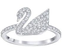 Swarovski Iconic Swan Ring Weiss Rhodiniert