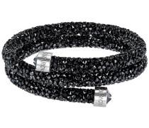 Crystaldust Doppel-Armreif, schwarz, Edelstahl Schwarz Edelstahl