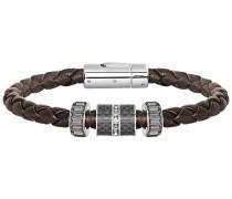 Diagonal Armband Leather Grau Edelstahl
