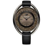 Crystalline Oval Uhr, Lederarmband, schwarz, Farbton Schwarz Braun