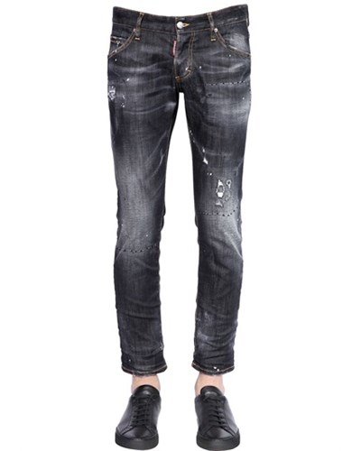 dsquared herren dsquared2 16 5cm jeans aus stretch denim clement schwarz reduziert. Black Bedroom Furniture Sets. Home Design Ideas