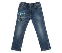 JEANS AUS STRETCH-DENIM MIT PATCH