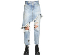 DOUBLE DESTROYED COTTON DENIM JEANS