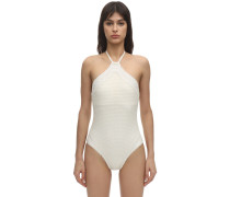 WICKER HALTER NECK ONE PIECE SWIMSUIT