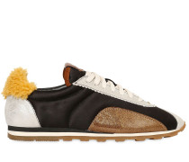 10MM HOHE SNEAKERS AUS SATIN UND SHEARLING