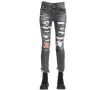 JENNY DESTROYED COTTON DENIM JEANS