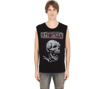 SKULL COTTON JERSEY SLEEVELESS T-SHIRT