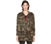 CAMOUFLAGE PRINT MILITARY CANVAS JACKET