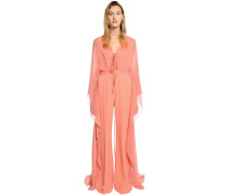 CREPE CADY JUMPSUIT WITH GEORGETTE CAPE