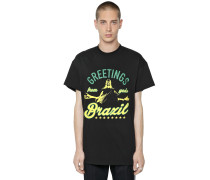 T-SHIRT AUS JERSEY 'GREETINGS FROM BRAZIL'