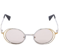 SILVER & GOLD METAL ROUND SUNGLASSES