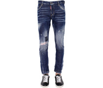 16CM JEANS AUS STRETCH-DENIM MIT PATCH