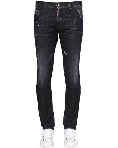 dsquared herren dsquared2 16 5cm jeans aus dunkelm stretch denim cool guy schwarz reduziert. Black Bedroom Furniture Sets. Home Design Ideas