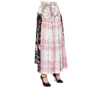 LACE PRINTED PATCHWORK TWILL MIDI SKIRT