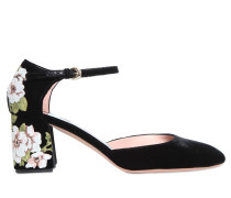 60MM HOHE MARY-JANE-PUMPS AUS SAMT
