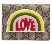 KARTENHÜLLE AUS GG-SUPREME-STOFF MIT PATCH 'LOVE'