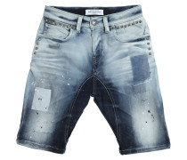SHORTS AUS STRETCH-DENIM IM DESTROYED-LOOK