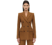 VIRGIN WOOL GINGHAM FELT BLAZER