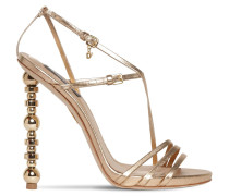 120MM METALLIC LEATHER SANDALS