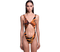 TIGER PRINT CUTOUT ONE PIECE SWIMSUIT