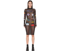 KLEID AUS STRETCH-MESH MIT PATCHES