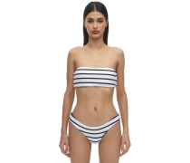 RETRO STRIPED RIB BANDEAU BIKINITOP