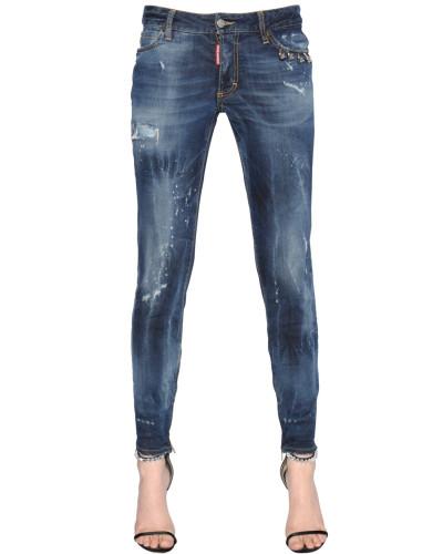 dsquared damen enge jeans aus denim mit piercing reduziert. Black Bedroom Furniture Sets. Home Design Ideas