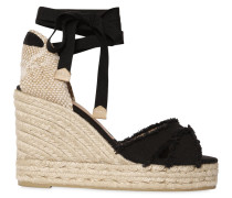 80MM FRINGED LACE UP CANVAS WEDGES