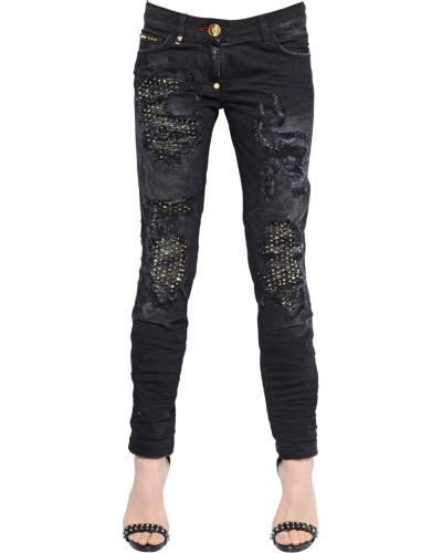philipp plein damen jeans aus verziertem denim mit rissen reduziert. Black Bedroom Furniture Sets. Home Design Ideas