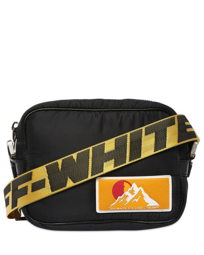 NYLON PUFFY CROSSBODY BAG W/LOGO WEBBING